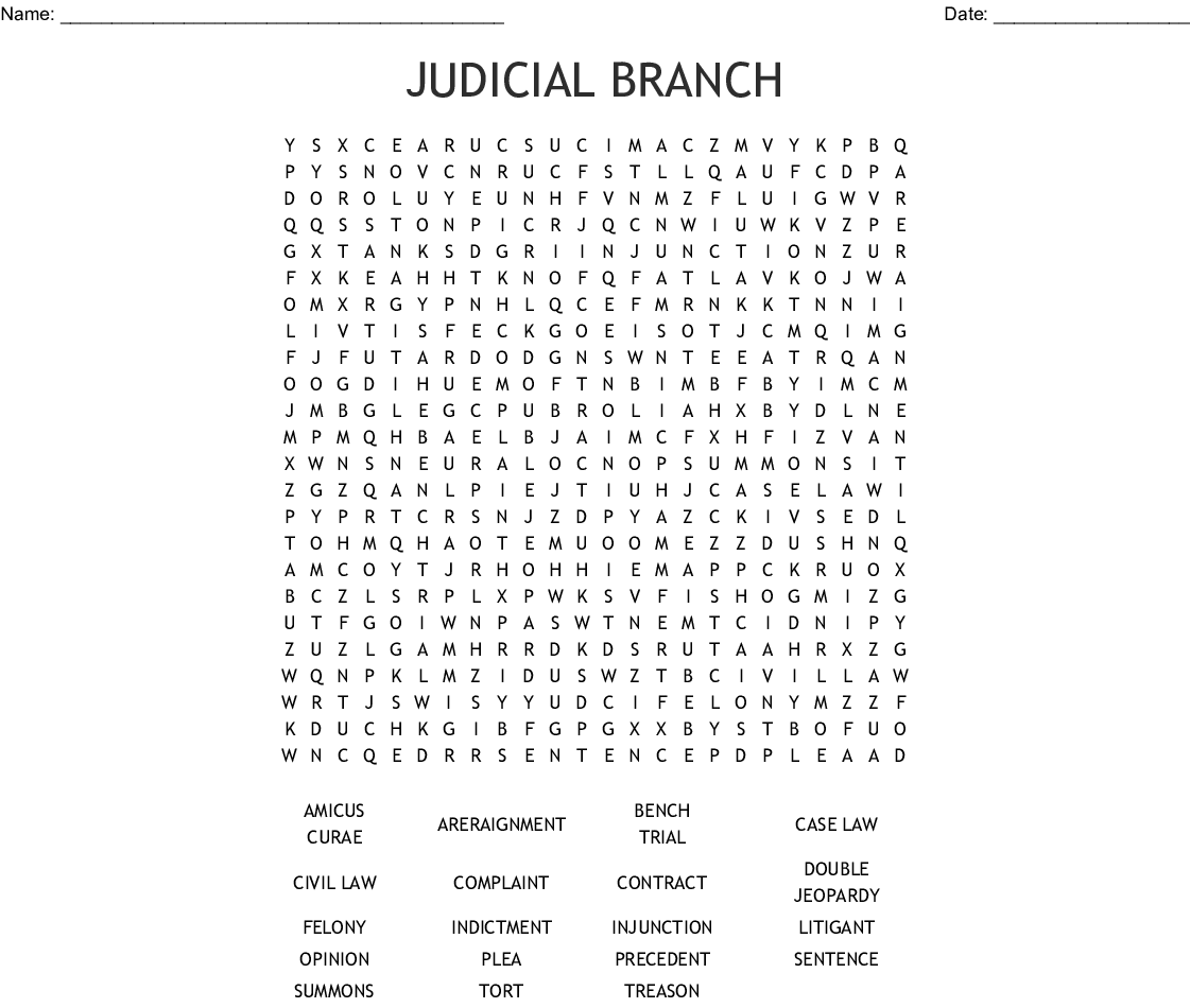 Judicial Branch Word Search - WordMint