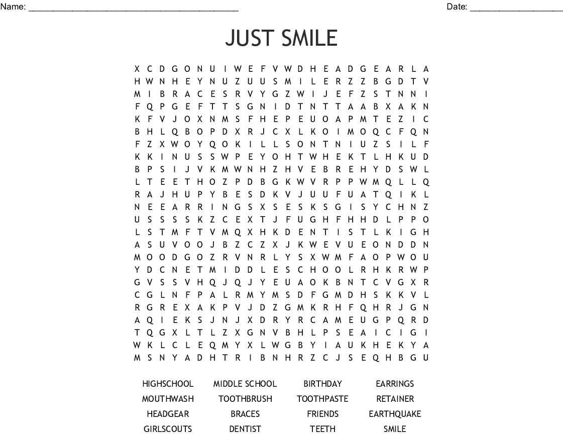 Smile Word Search - WordMint