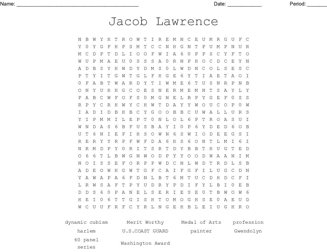 Jacob Lawrence Word Search - WordMint