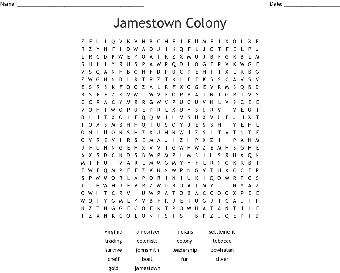 Jamestown Colony Word Search - WordMint