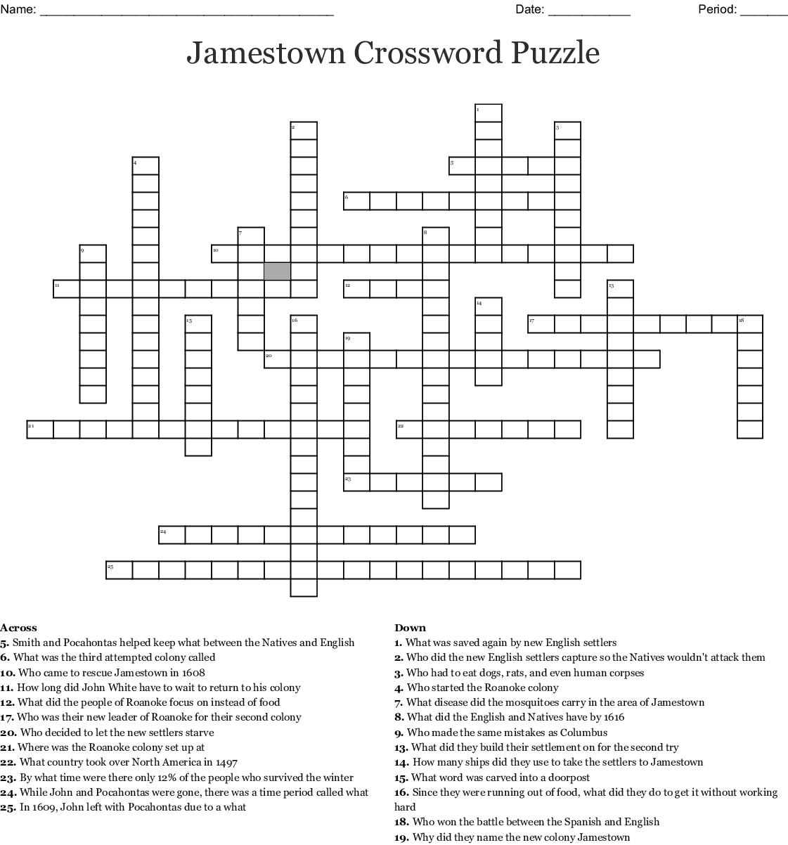 The Lost Colony of Roanoke Crossword - WordMint
