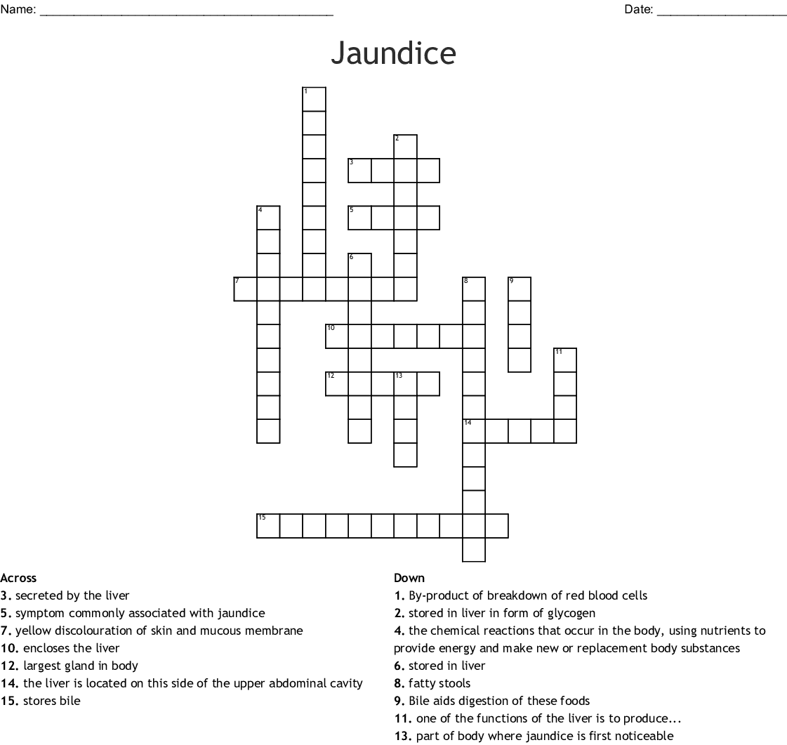 Jaundice Crossword Wordmint