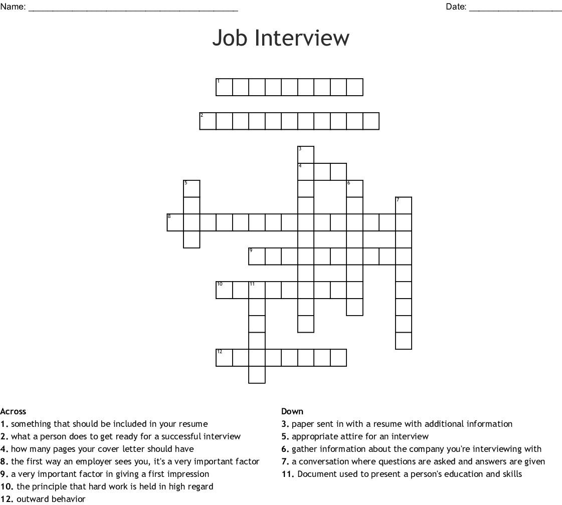 Job Interview Crossword