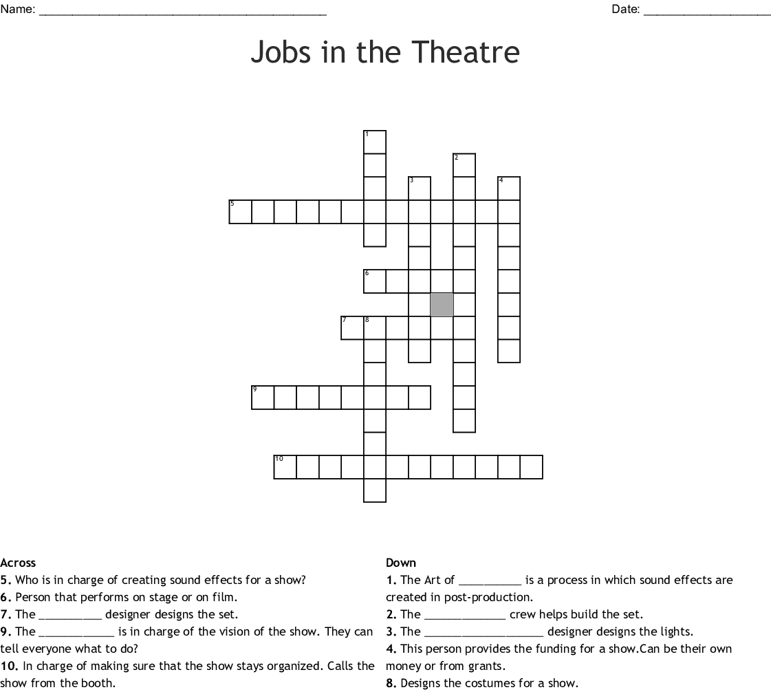Jobs In The Theatre Crossword Wordmint