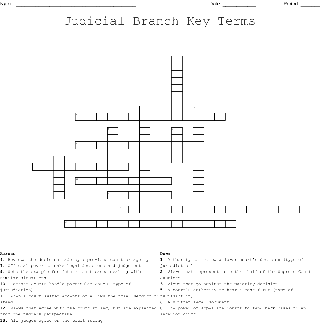 Judicial Branch Key Terms Crossword - WordMint