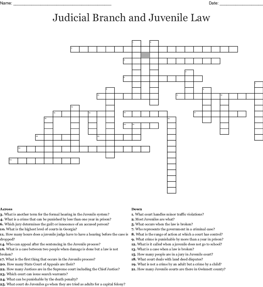 judicial branch Crossword - WordMint