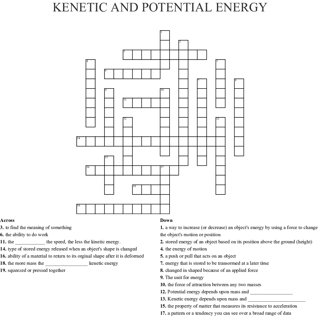 Kinetic and Potential Energy Crossword - WordMint