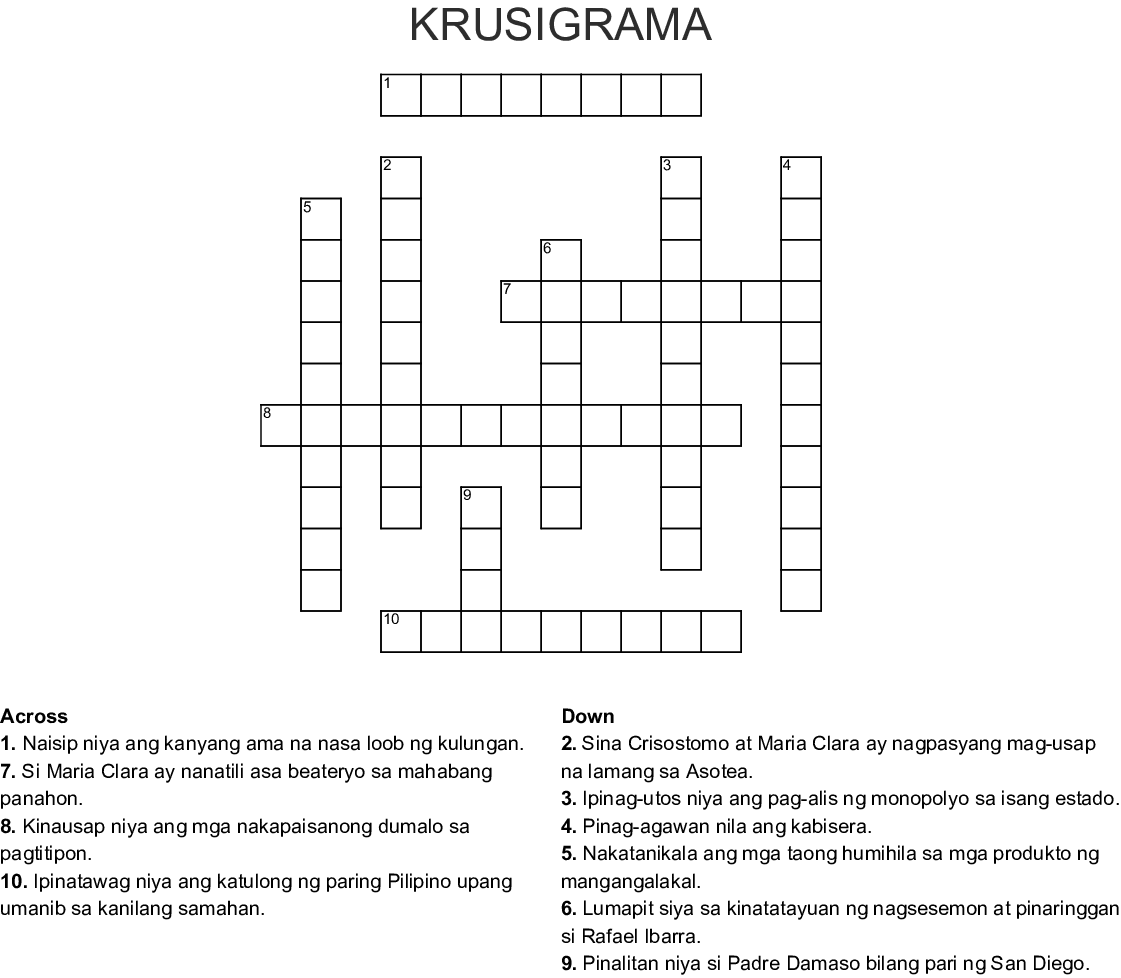 KRUSIGRAMA Crossword - WordMint