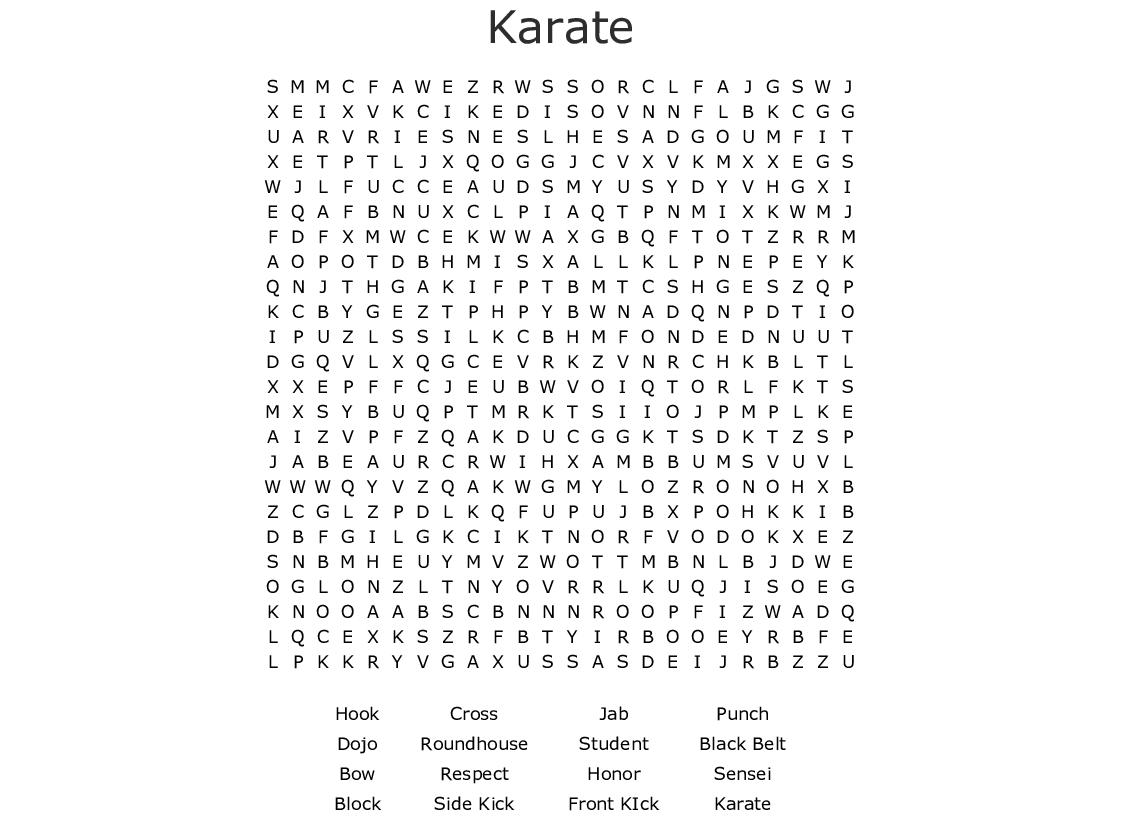 Taekwondo Word Search - WordMint