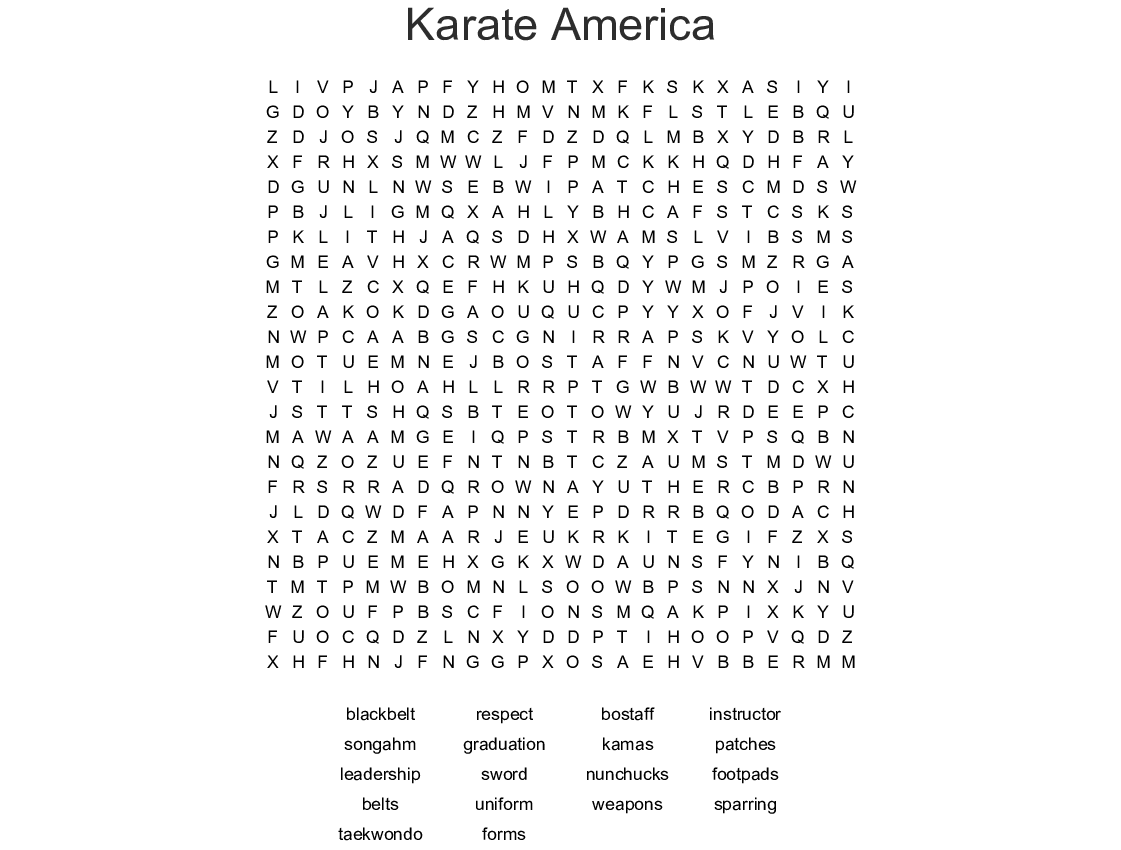 Martial Arts Crosswords, Word Searches, Bingo Cards - WordMint