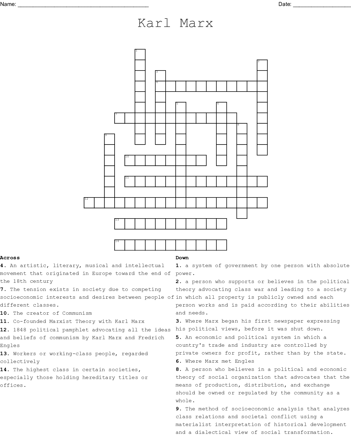 Marx Marxism And Socialism Crossword Wordmint