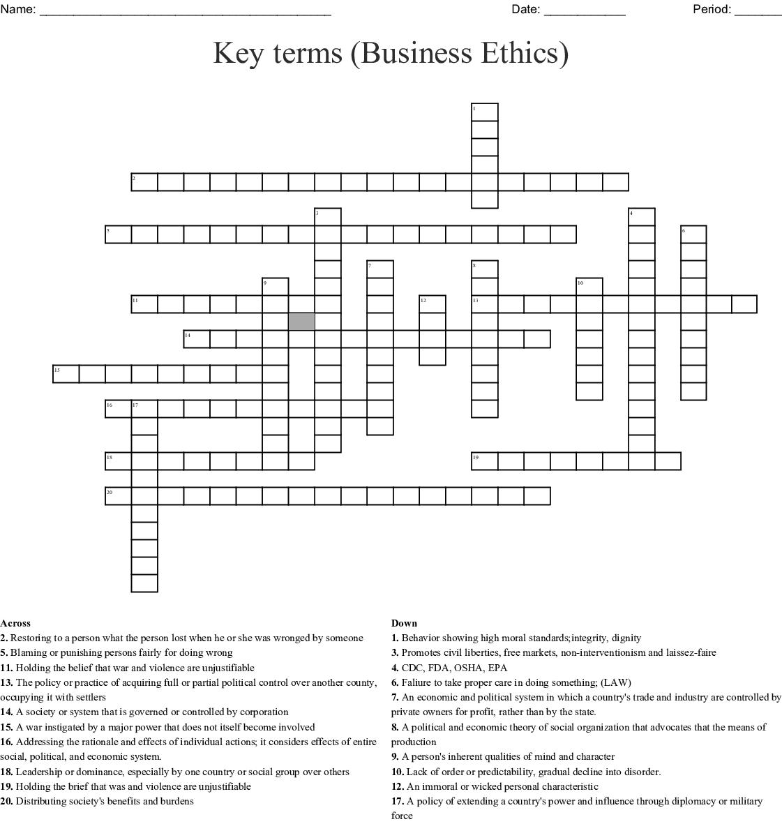 Key Terms Business Ethics Crossword Wordmint