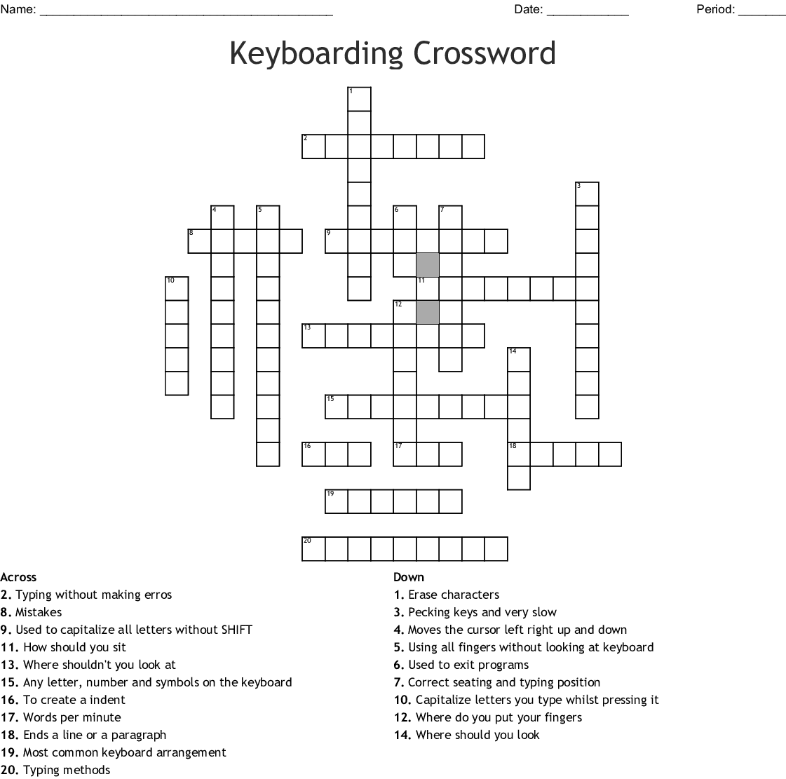 Keyboarding Crossword - WordMint