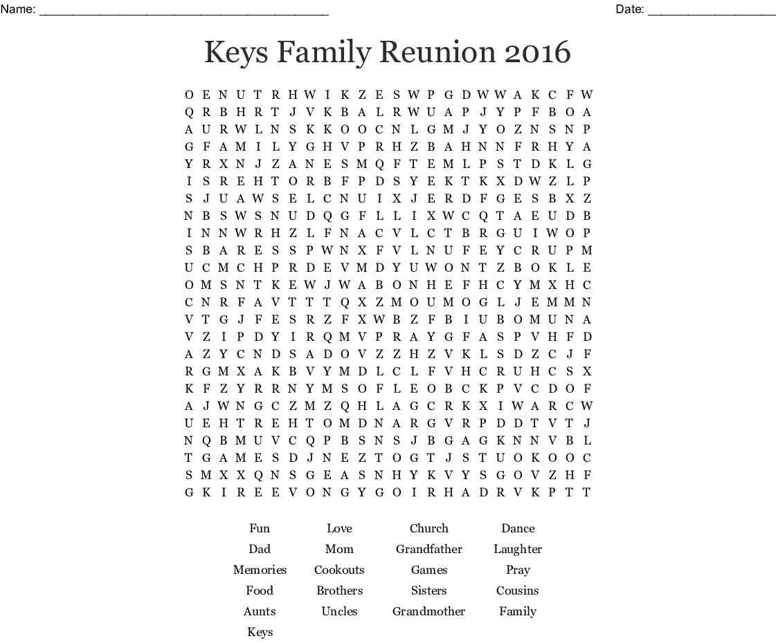 photograph regarding Printable Family Reunion Games titled Family members Reunion Term Glance - WordMint