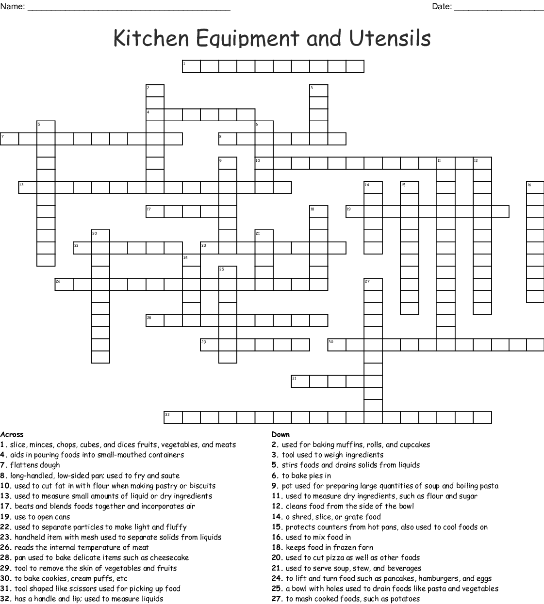 Kitchen Equipment And Utensils Crossword Wordmint