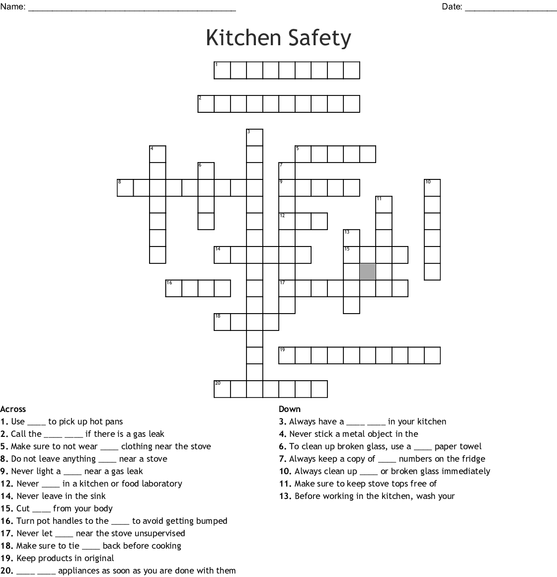 Kitchen Safety Crossword Wordmint