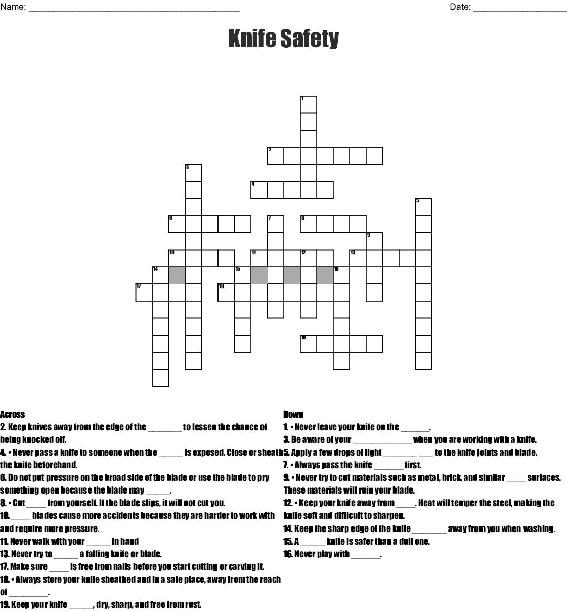 Knife Safety Crossword Wordmint