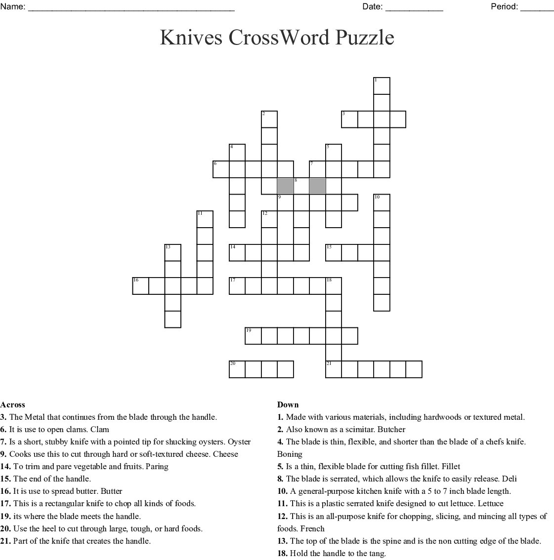 Using Knives Word Search - WordMint