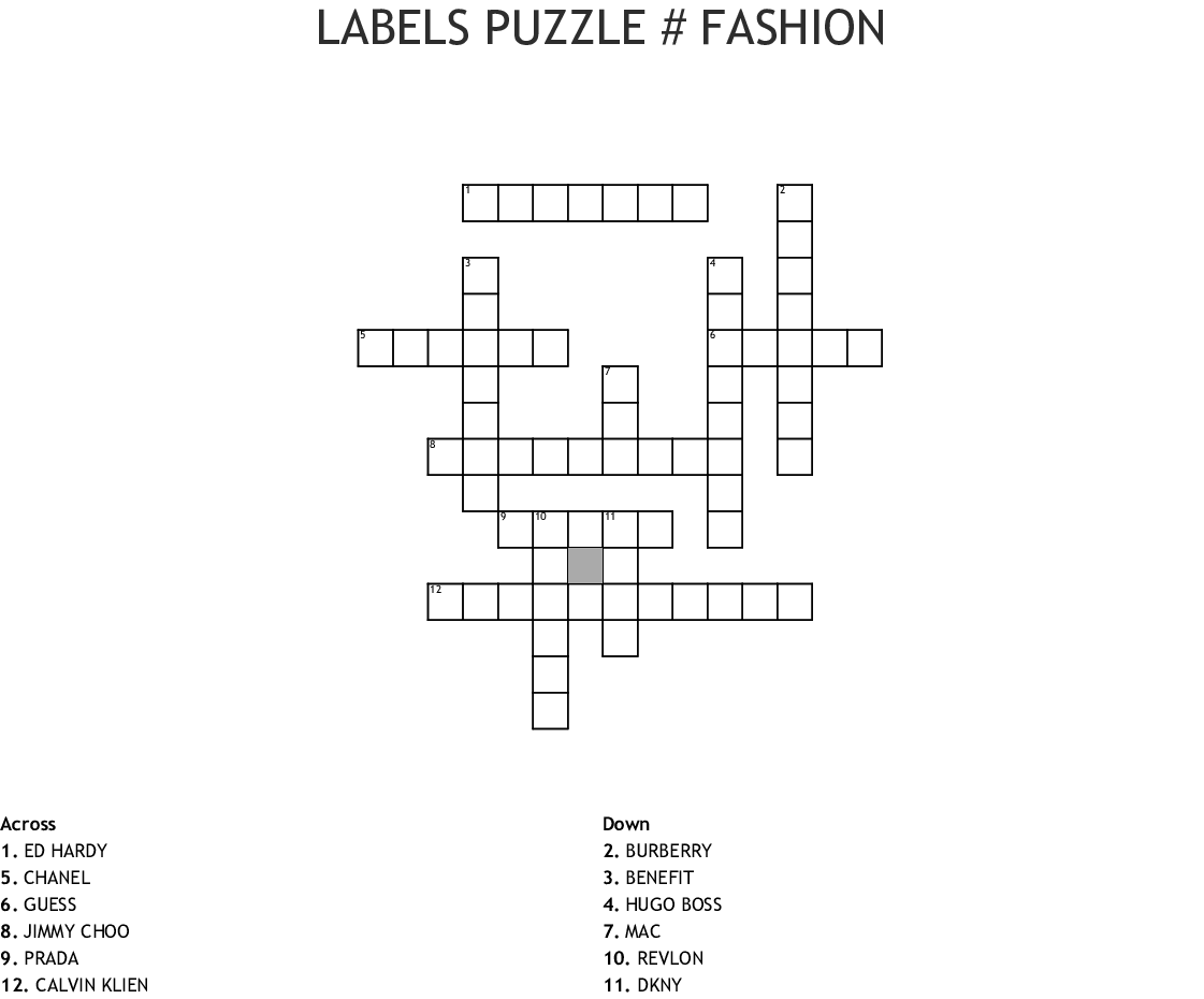 Labels Puzzle Fashion Crossword Wordmint