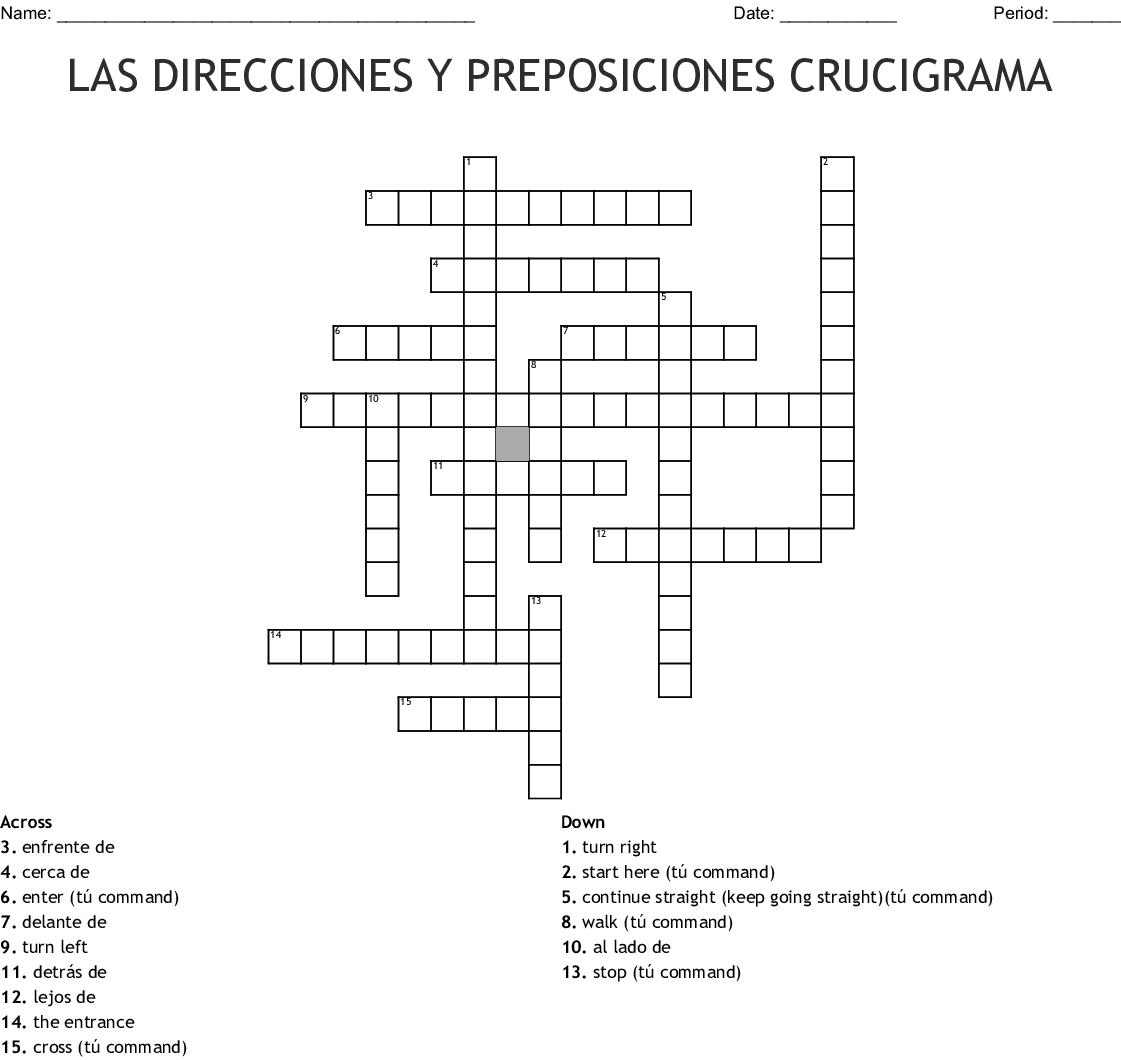 LAS DIRECCIONES Y PREPOSICIONES CRUCIGRAMA Crossword - WordMint