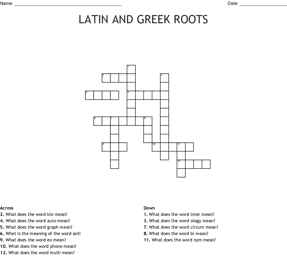 Latin And Greek Roots Crossword Wordmint