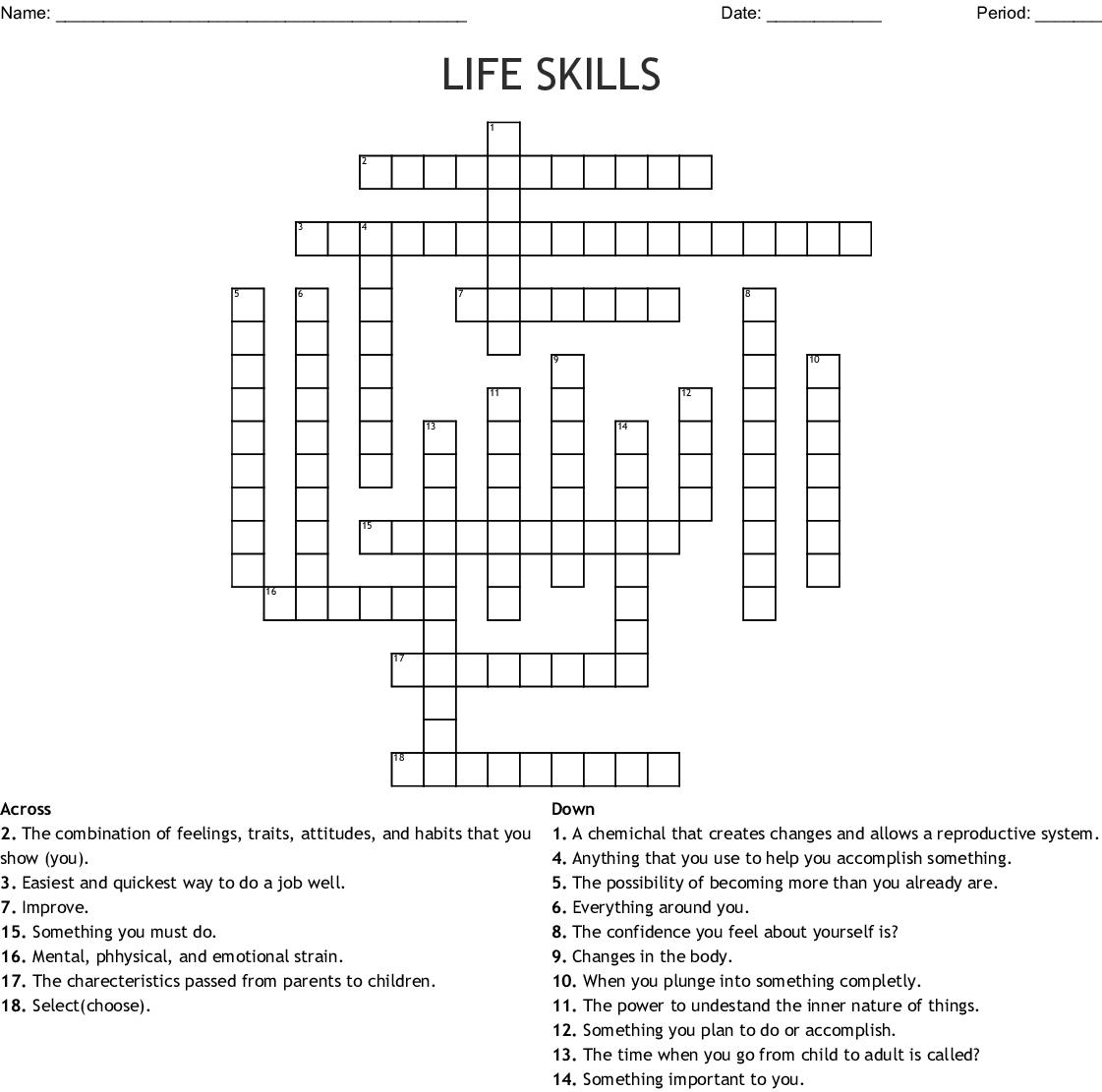 Life Skills Crossword Wordmint