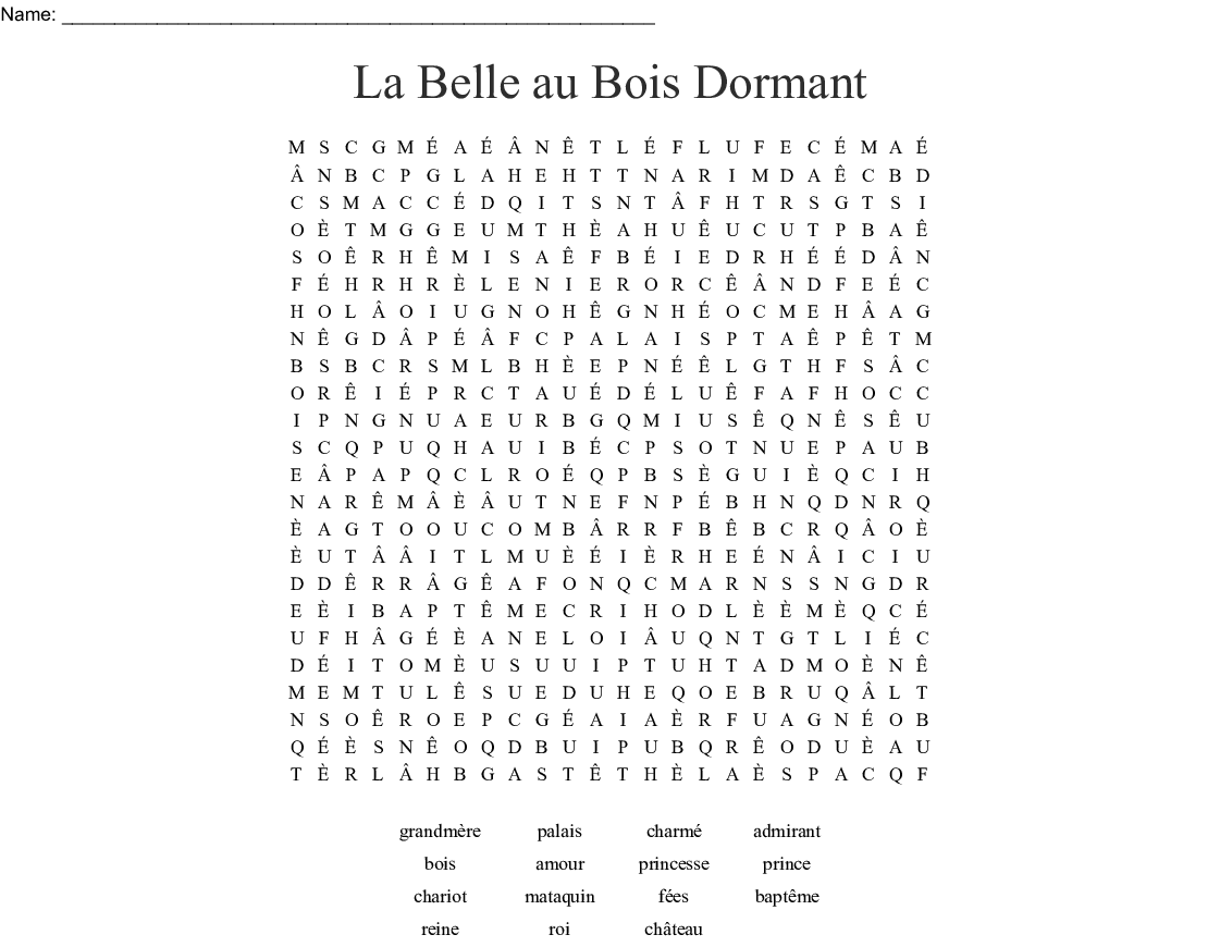 La Belle au Bois Dormant Word Search - WordMint