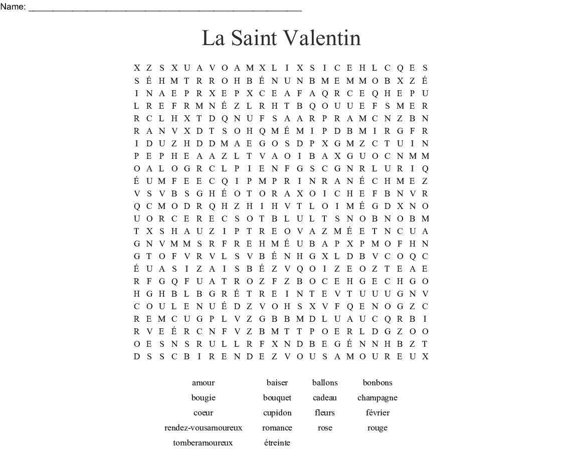 Combien De Rose Pour La St Valentin la saint valentin word search - wordmint