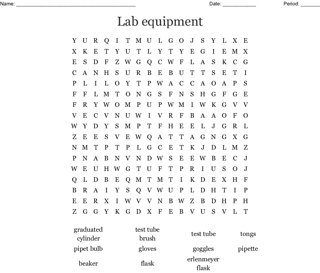 Lab Equipment Word Search Wordmint