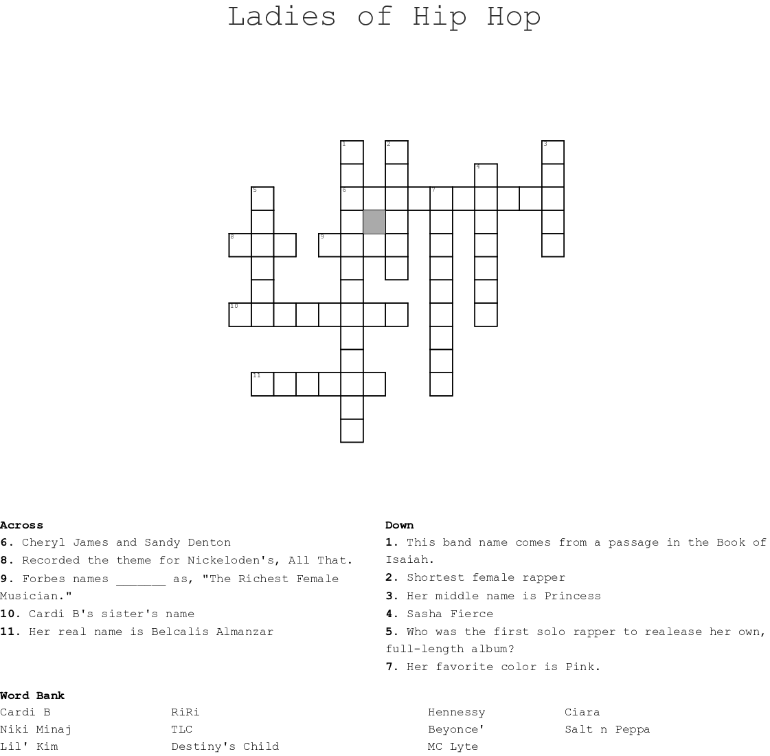 Urban & Hip-Hop Crosswords, Word Searches, Bingo Cards - WordMint