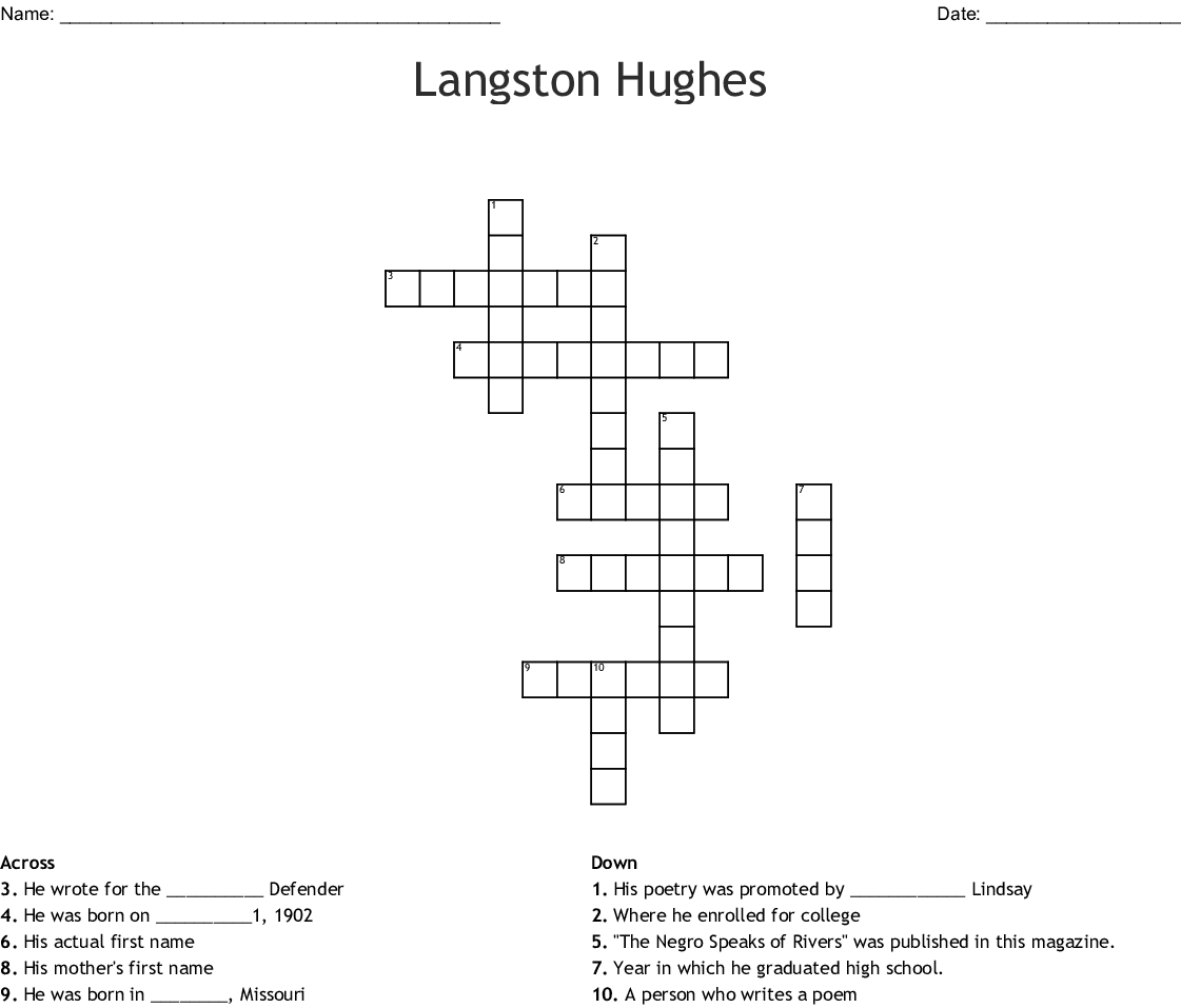 Langston Hughes Word Search - WordMint