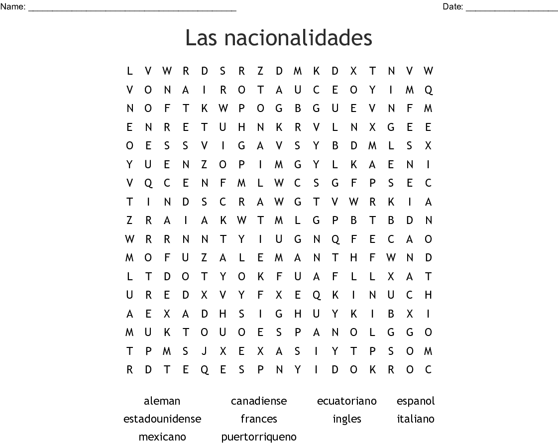 photograph about Printable Spanish Word Search Answers titled Las nacionalidades Phrase Appear - WordMint