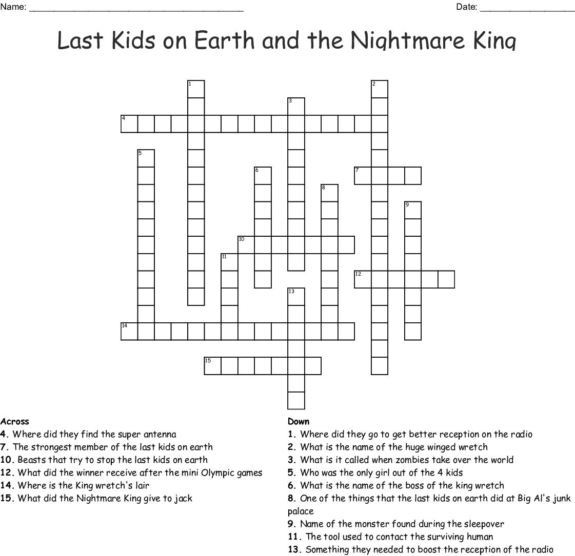 Last Kids on Earth and the Nightmare King Crossword - WordMint