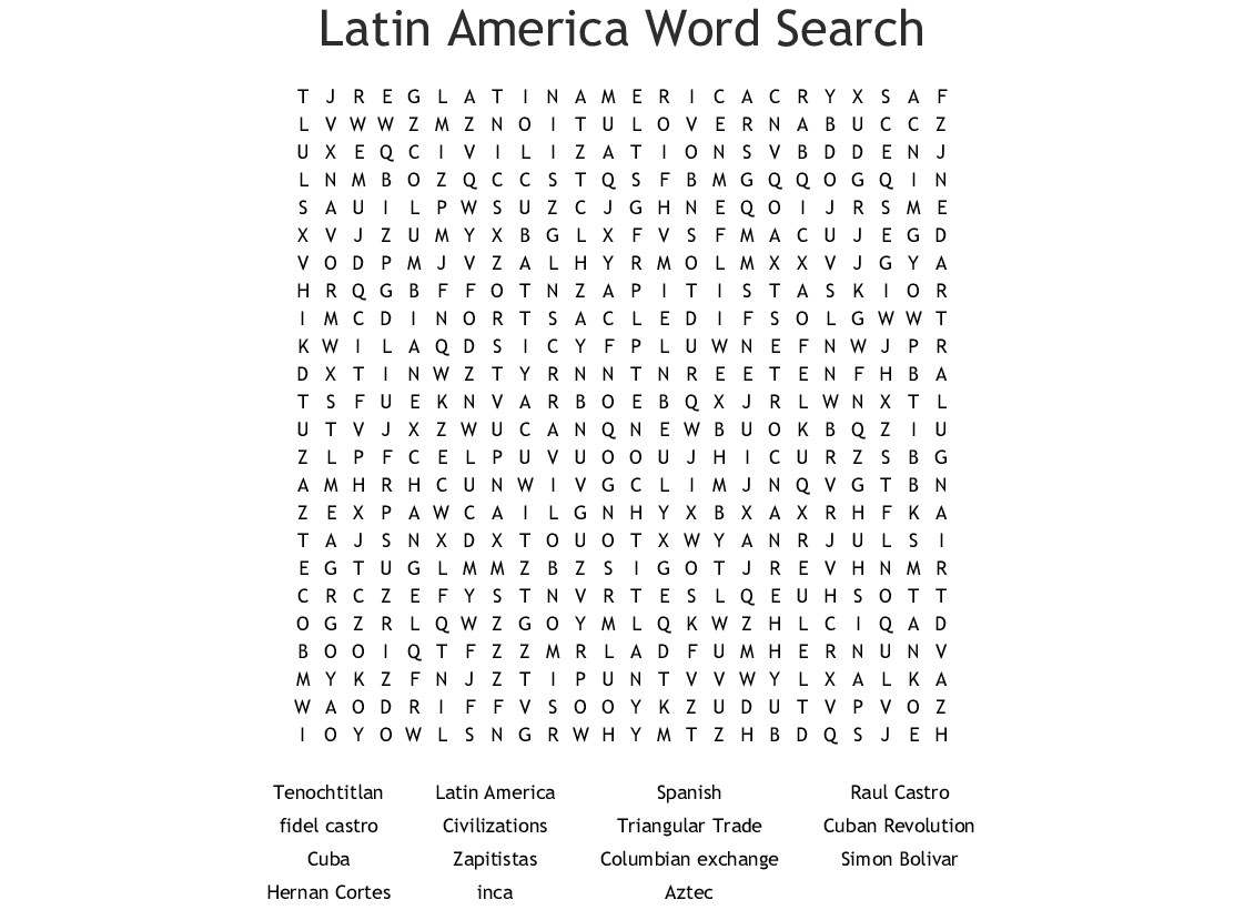 picture about Spanish Word Searches Printable identified as Latin The united states Term Look - WordMint