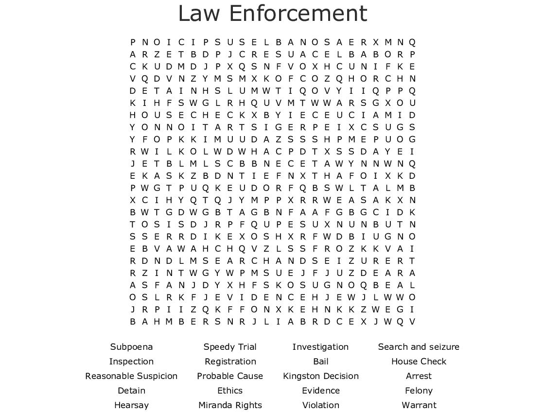 graphic regarding Miranda Warning Card Printable known as Law enforcement Phrase Look - WordMint