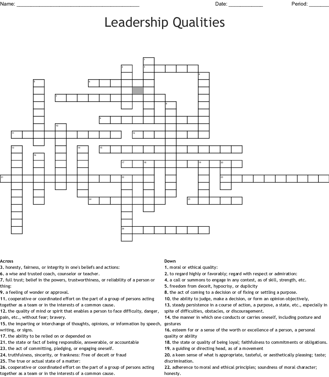 Leadership Qualities Crossword Wordmint