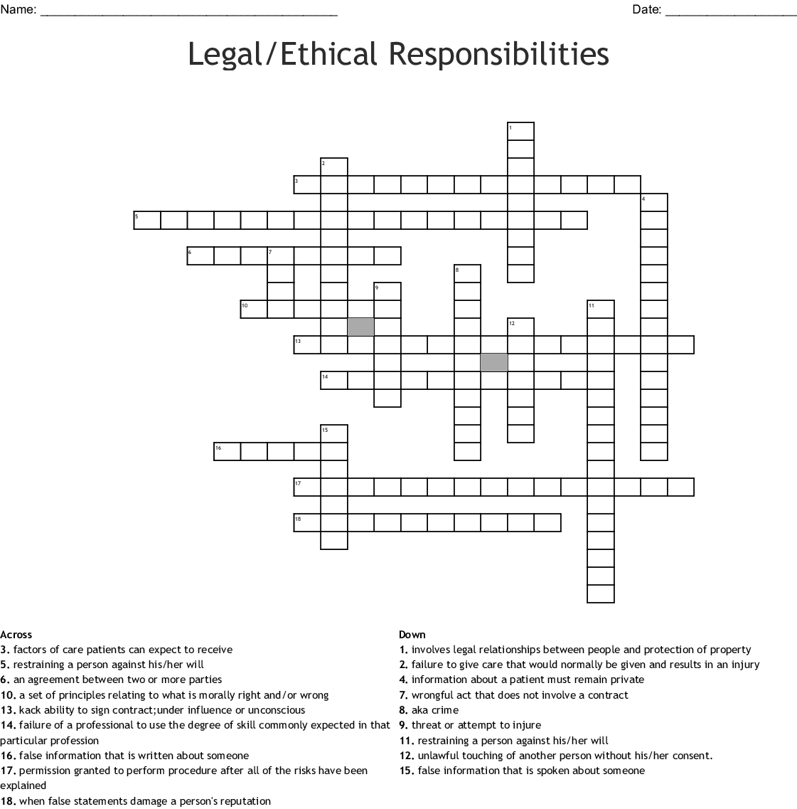 Ethics Legal Terms Crossword Wordmint