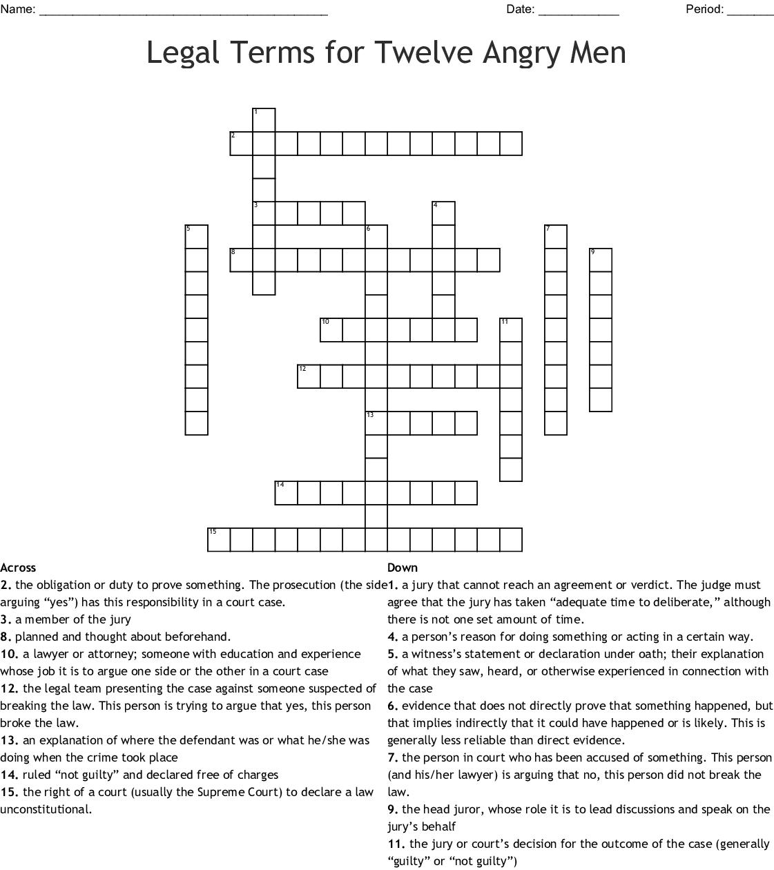 Federal Court Crossword Puzzle Wordmint