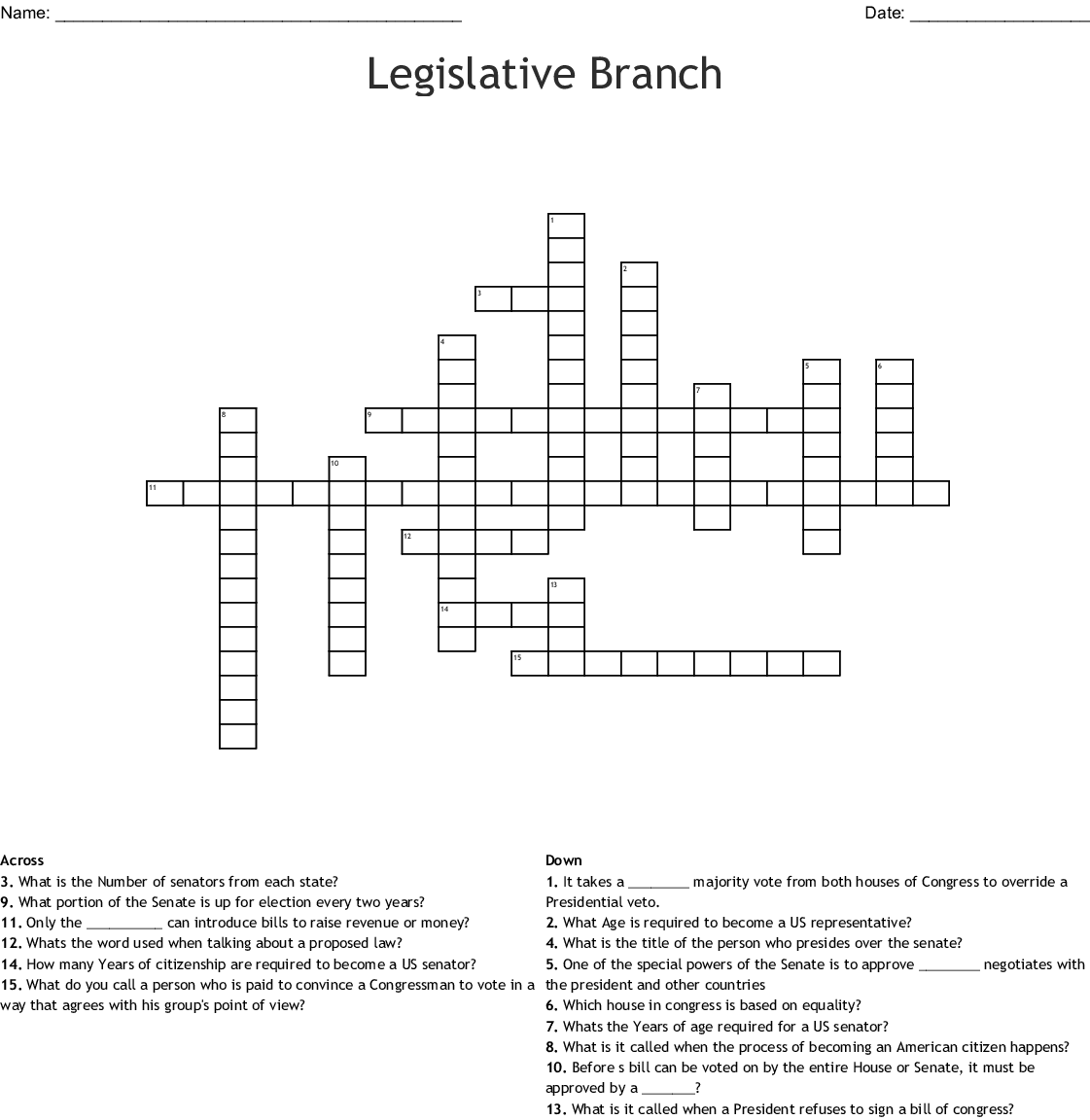 Legislative Branch Crossword Puzzle - WordMint