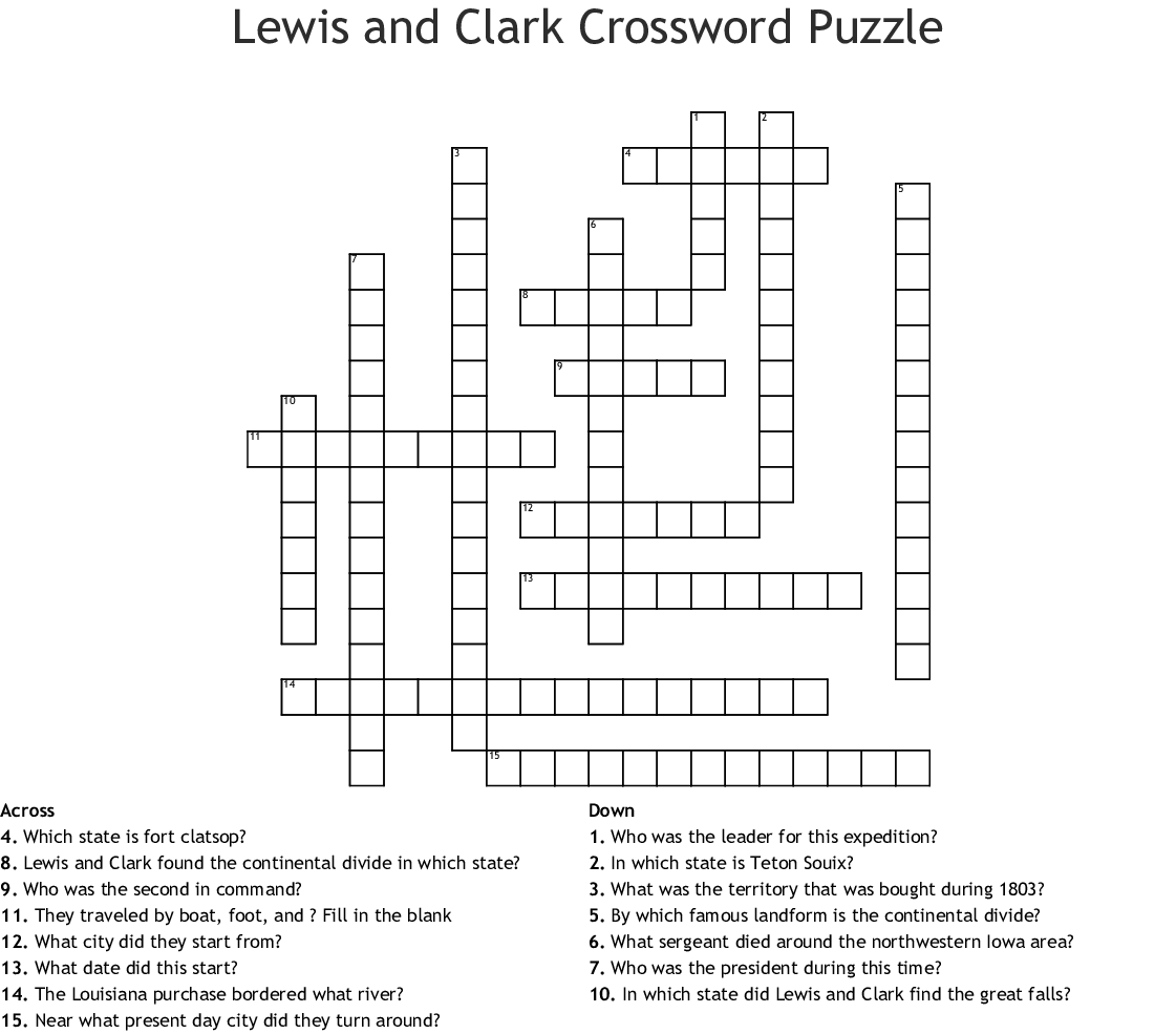Lewis And Clark Expedition Crossword - WordMint