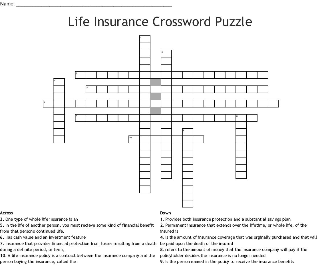 Life Insurance Crossword Puzzle Wordmint