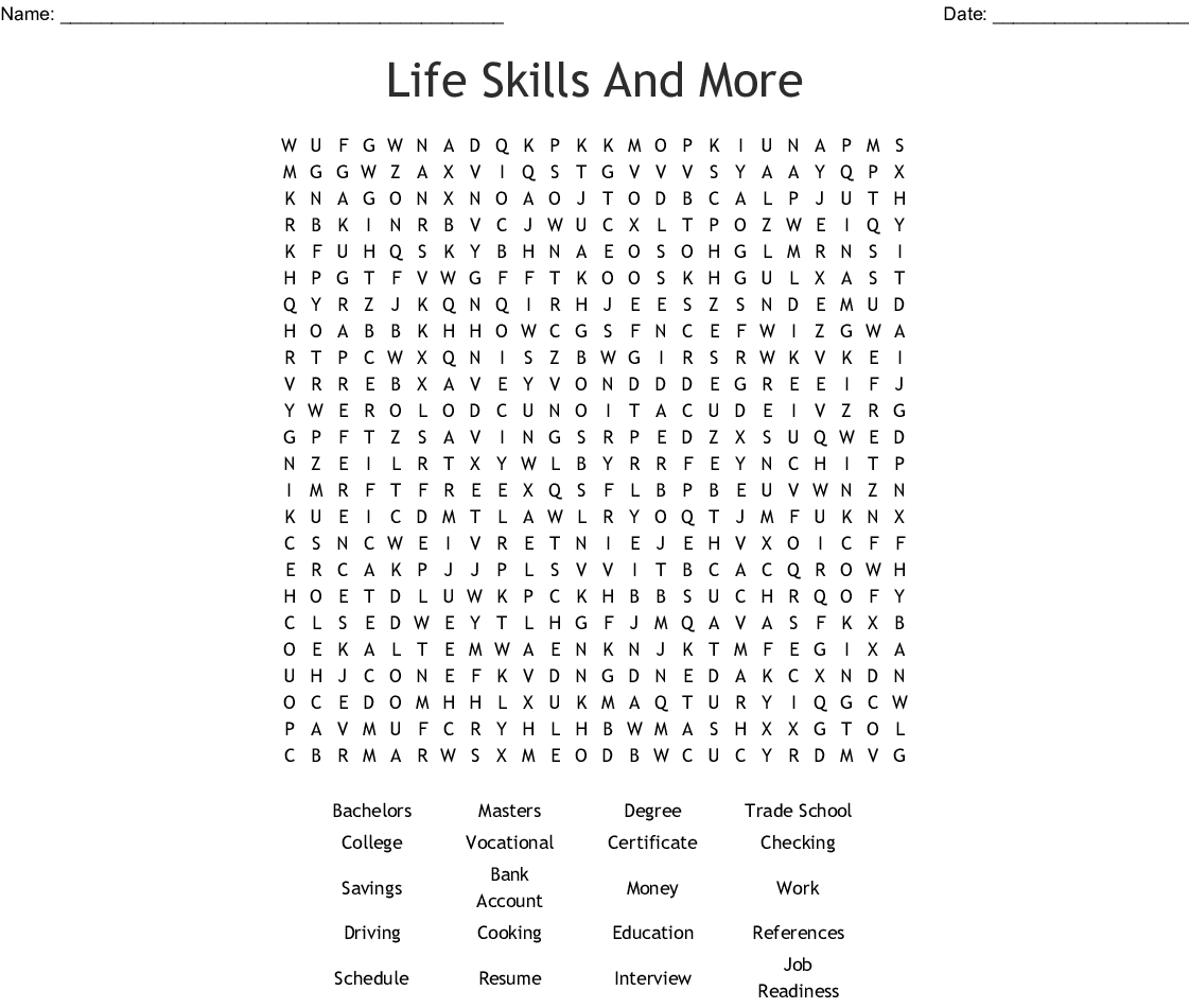 life skills and more word search
