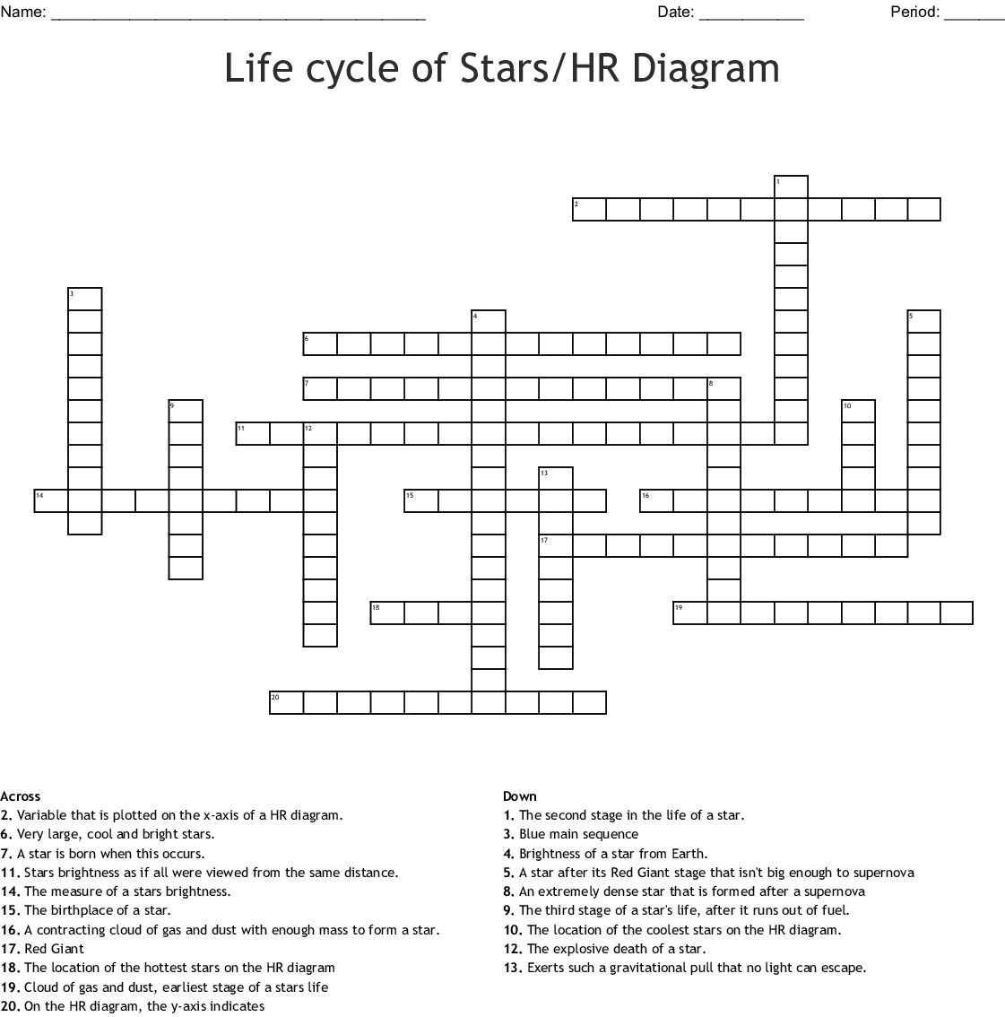 Life Cycle Of Stars Hr Diagram Crossword Wordmint