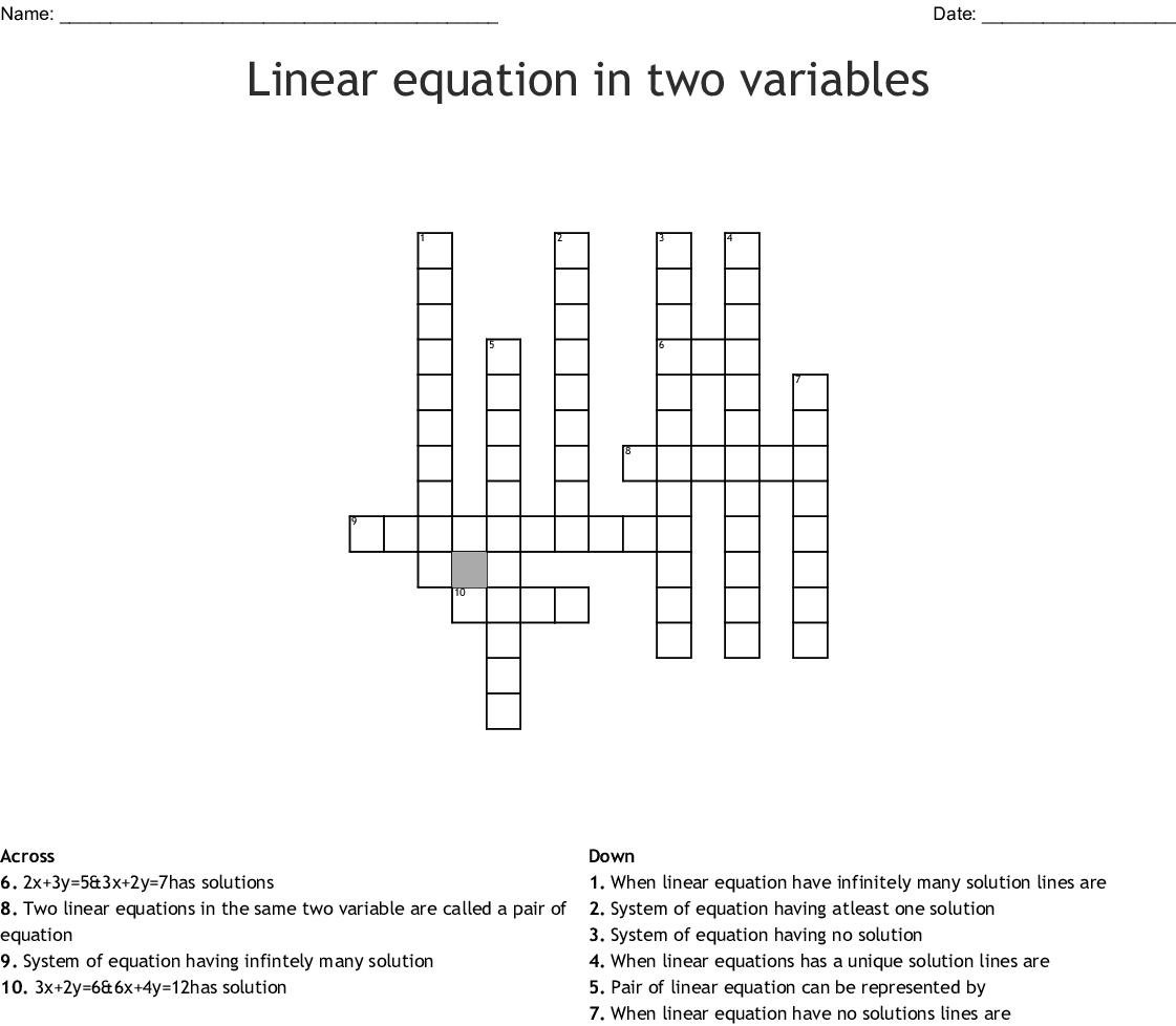 Polynomials Crossword - WordMint
