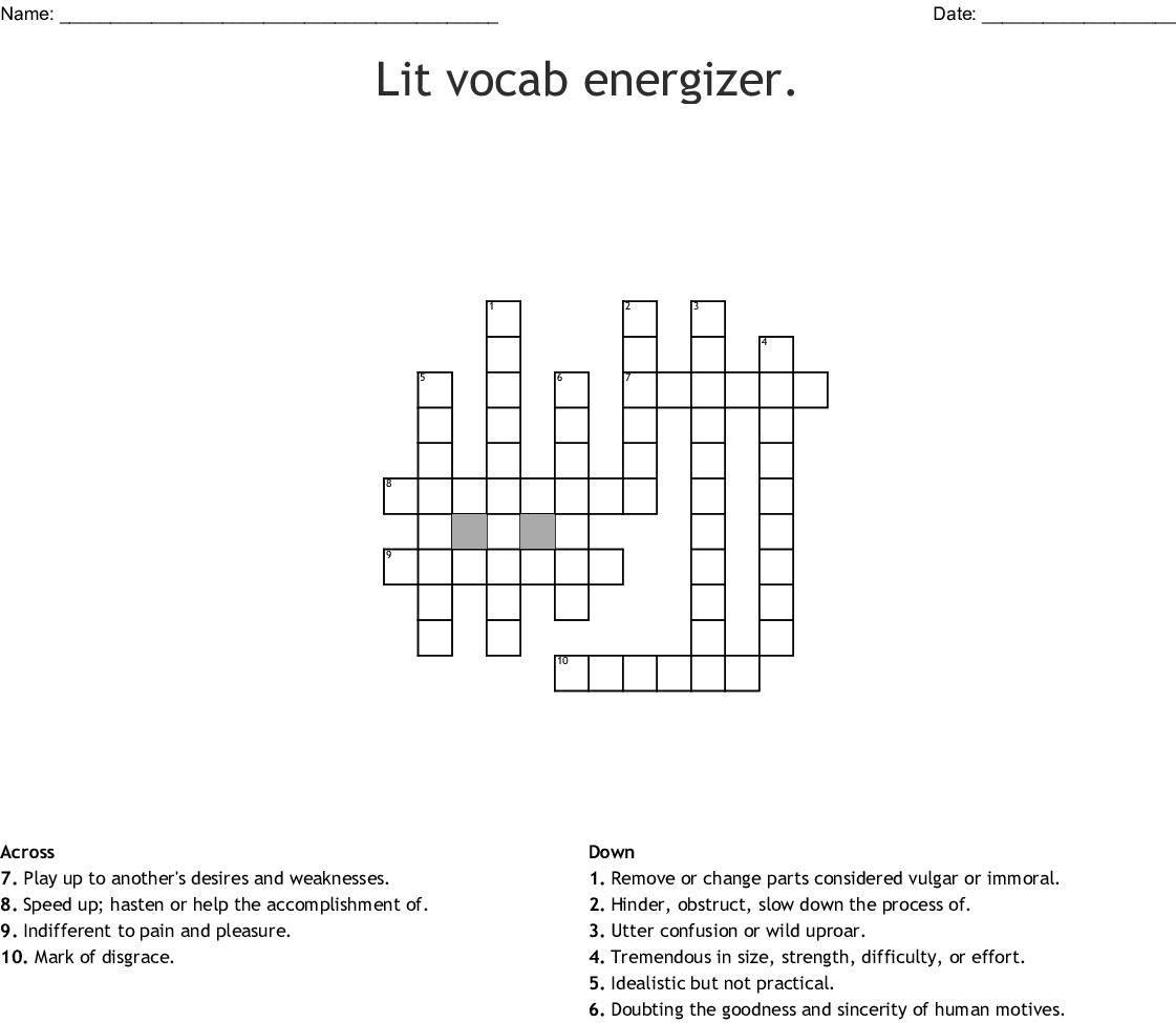 Ety Vocab Midterm Review Crossword Wordmint