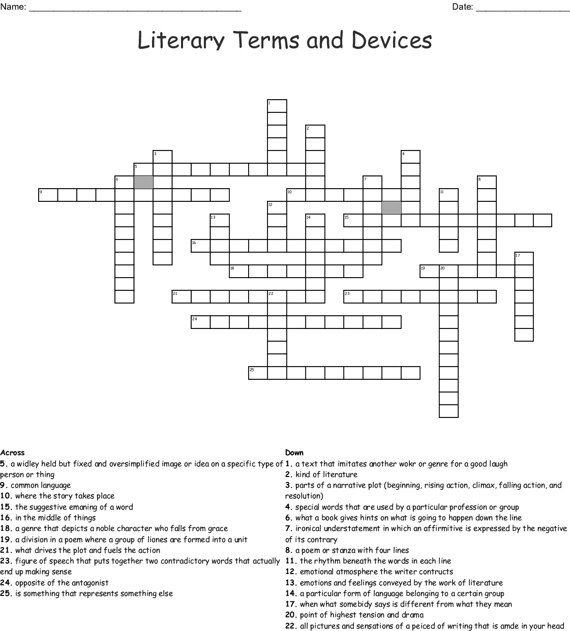 Literary Terms and Devices Crossword - WordMint