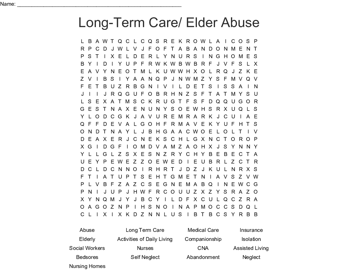 Long-Term Care/ Elder Abuse Word Search - WordMint