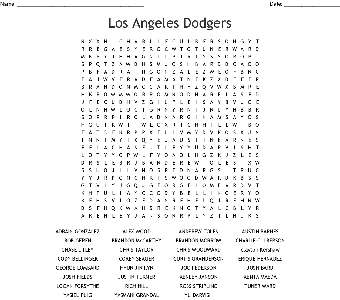 Famous Dodgers Word Search - WordMint