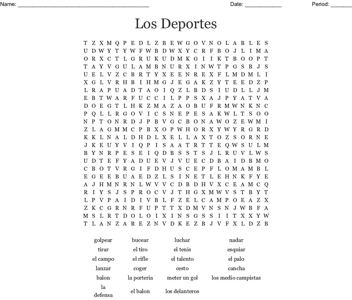 Los Deportes Word Search - WordMint