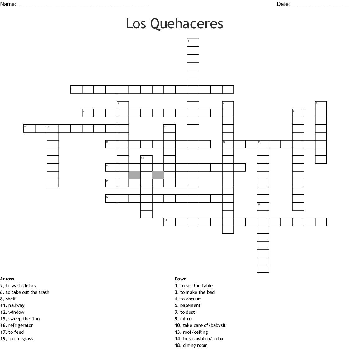 spanish Crossword - WordMint